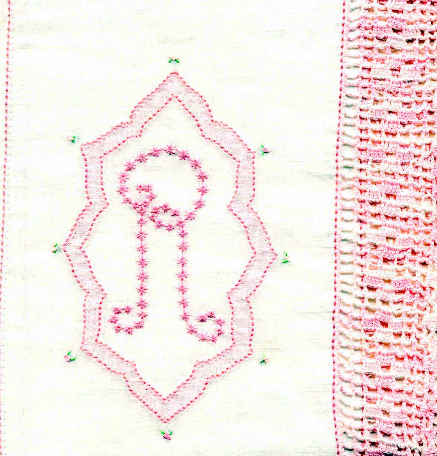 Vintage Antimacassar Doily Filet Crochet Monogram A (04/06/2009)