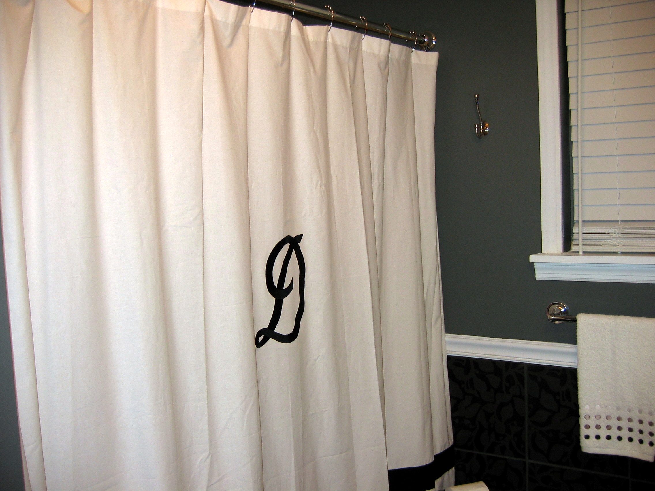 Shower Curtain Monogram | Janice Ferguson Sews