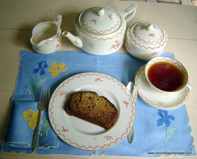 Earl Grey tea and banana bread served in the potting shed