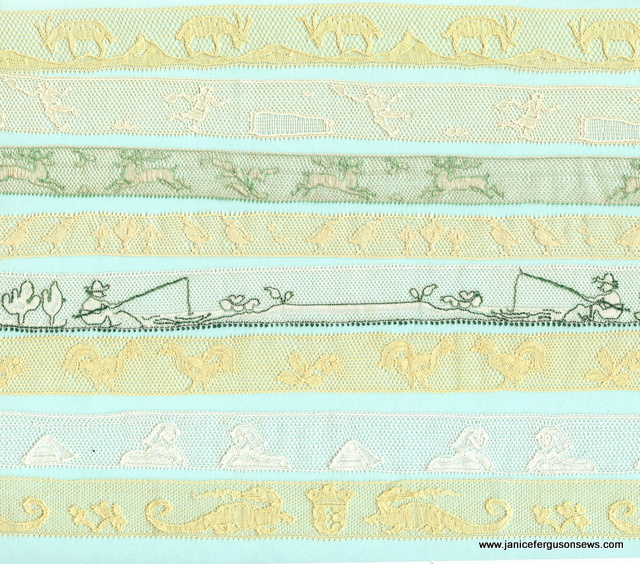 Binche lace~~1. Billy Goats Gruff, 2. tennis players, 3. deer, 4. baby chicks, 5. fisher boys, 6. roosters, 7. King Tut, 8. St. George's dragon