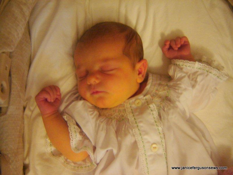 Vivian Rose sleeps sweetly in spite of he jaundice.