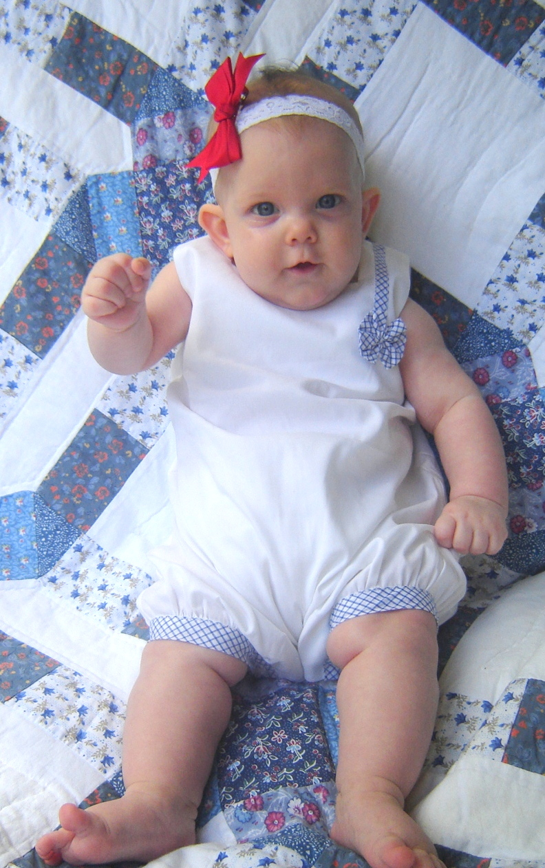 Vivian Rose, 3 months in her Farmhouse Fabrics bubble.