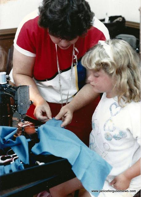 Karoline sewing on her grandmother's Featherweight