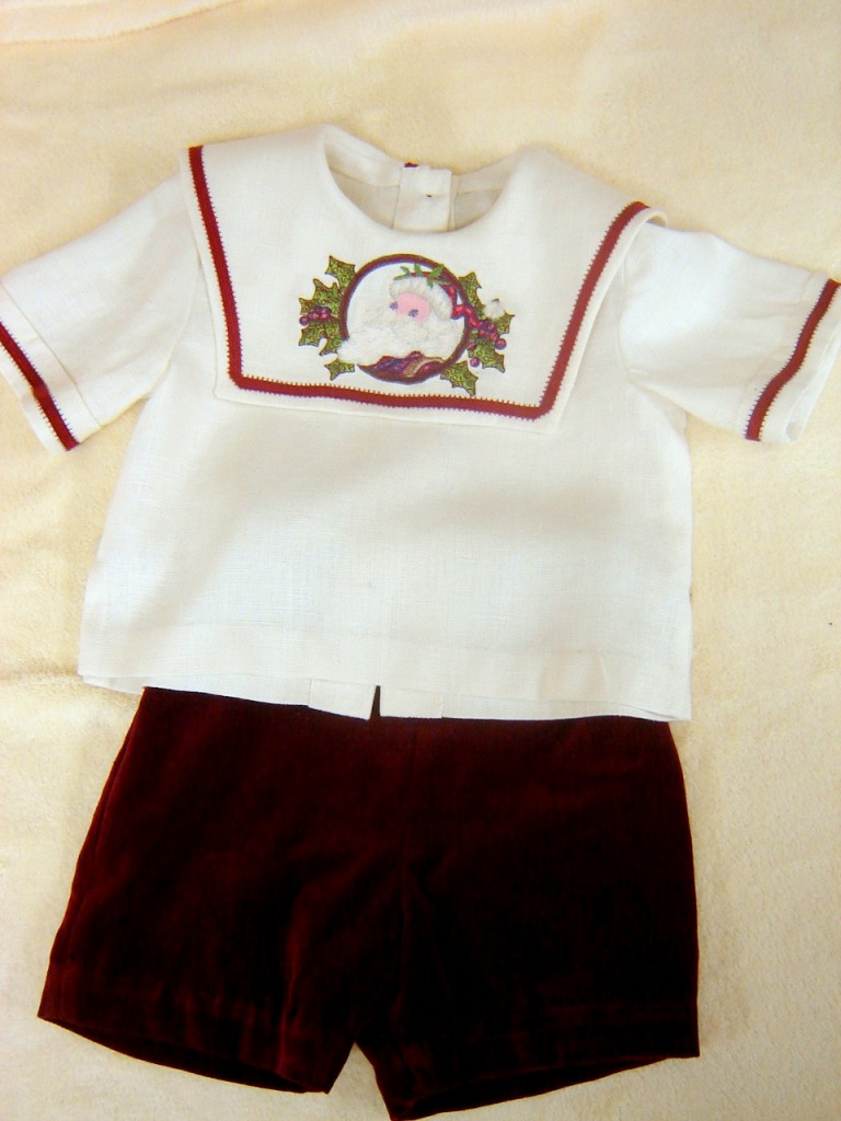 #43 Vintage Santa Christmas Suit, $22.  Burgundy velveteen pants, linen shirt with machine embroidery and lace tape on collar.  Very, very gently worn, perhaps twice.