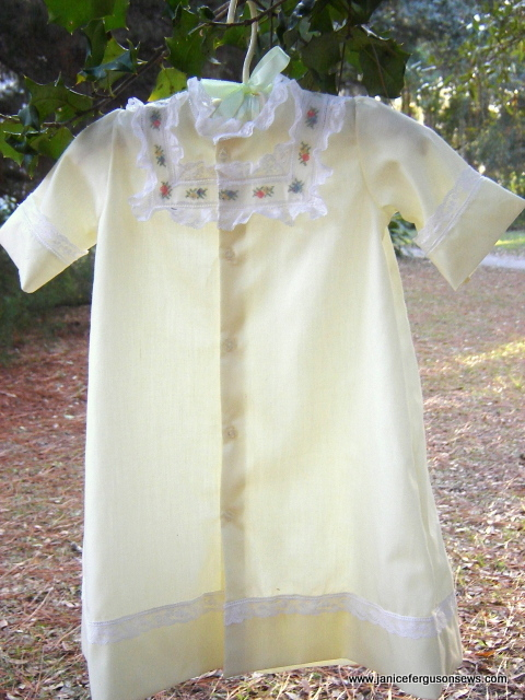 #11 Yellow Old Fashioned Baby's First Daygown, $35 + shipping. Easy care Imperial batiste, antique petit point handloom insertion, French Maline lace edging, entredeux. Never worn......sigh. For more photos and details, read blog post OFB Daygown with petit point insertion.