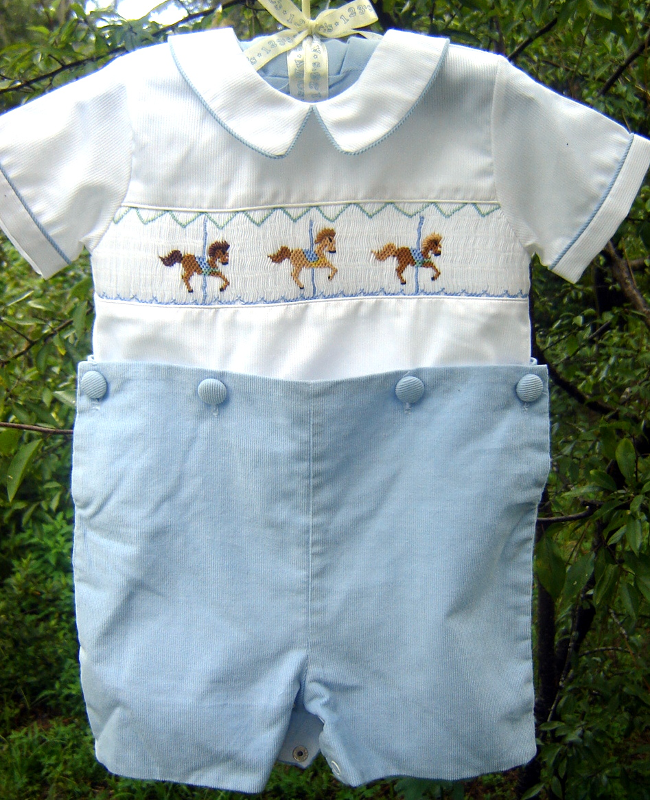 #41 Carousel Horses, $20.  Gently worn 9 month button on suit.  Pants are soft corduroy.