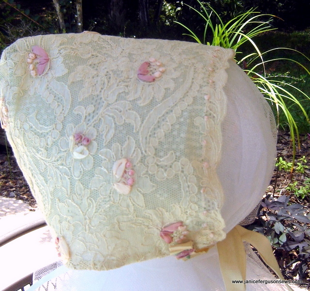 SOLD and shipped #10   Lace Bonnet with Silk Ribbon Embroidery, $22 + shipping. Exquisite antique lace lined with mint organdy, embellished with silk ribbon embroidery, antique silk grosgrain ribbon ties. Newborn to 3 months.  Details and more photos can be seen in Embroidered Lace Bonnet post.