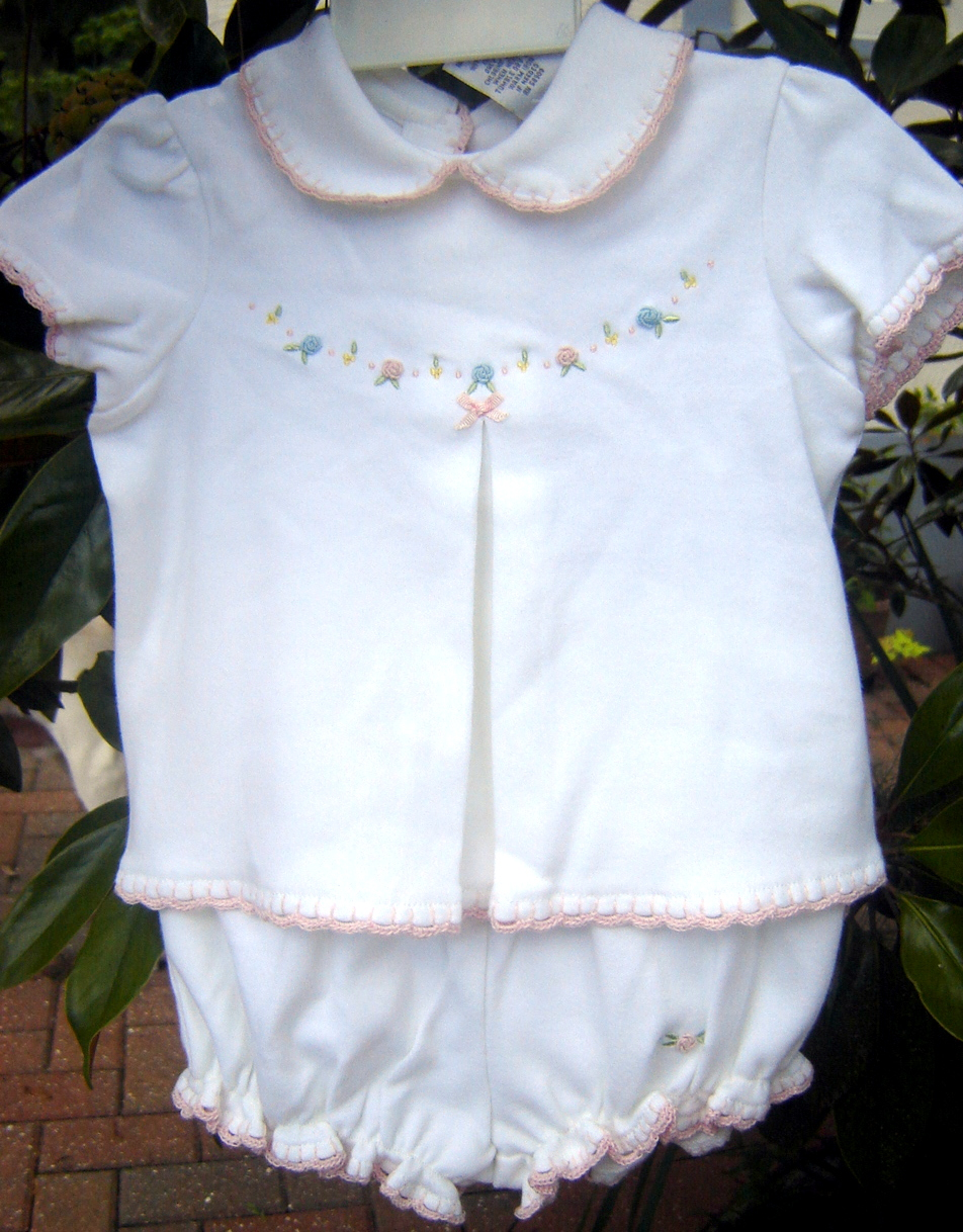#24  Knit 2-piece Baby Girl Outfit, $15, size 3-6 months.  Sweet, sweet with bullion rose embroidery and pink crochet trim at collar, cuffs, hem and bloomers.  New with tags.