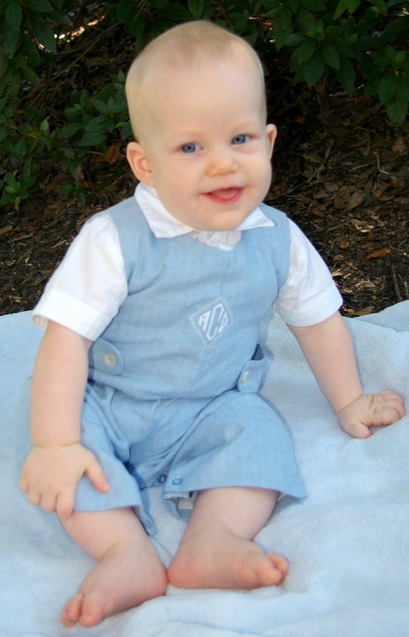 # Blue Twill Strasburg Overalls, $20. Comes with never worn shirt below, which was too warm for the season when it fit Alastair. Monogrammed, but easily applique'd over with your own machine or hand embroidered design. All 21 buttons have been replaced with mother of pearl. This is just a lovely, classic outfit.