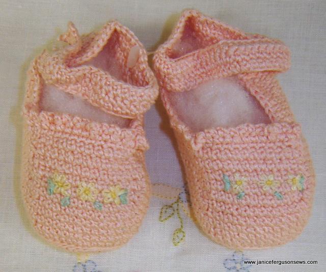 #12 Peach Mary Jane Booties, $10 + shipping. Beautifully crocheted in such a sweet style, in colors that match the daygown above. Like that daygown, never worn.  Another Old San Juan find. More about booties and Old San Juan in blog post Beautiful Booties.