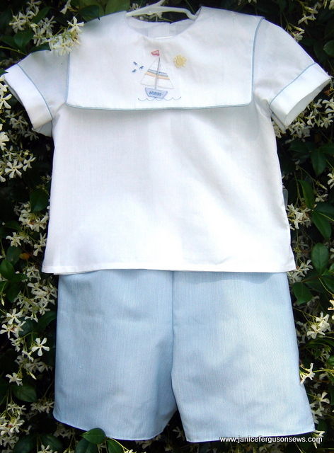 grandson's Easter outfit with shadow embroidery from Southern Stitches' Shadow Work Baby Collection