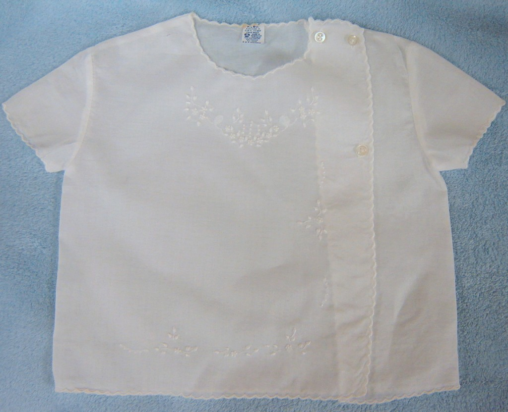 #42 Embroidered White Diaper Shirt, $10.  Another cool top for a summer baby boy or girl.