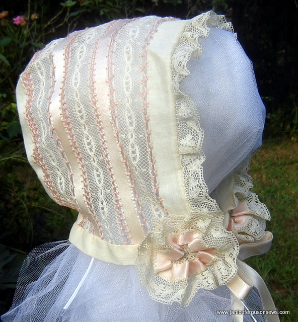 SOLD  #20 Fagoted Bonnet $25 + shipping. Antique French laces, Swiss batiste, satin ribbon, hand fagoted in a sampler of stitches with lace and ribbon rosettes at ties. Never worn. Details in blog post Fagoted Bonnet.