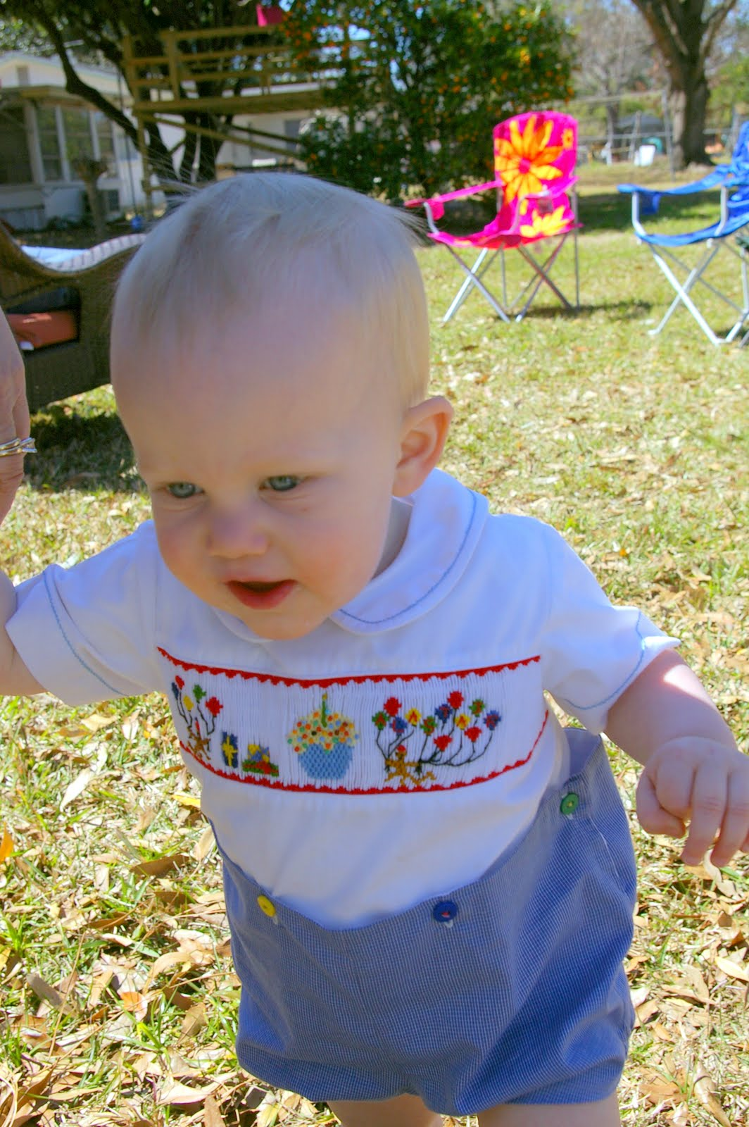 # Smocked First Birthday button-on, 12 months, $20.