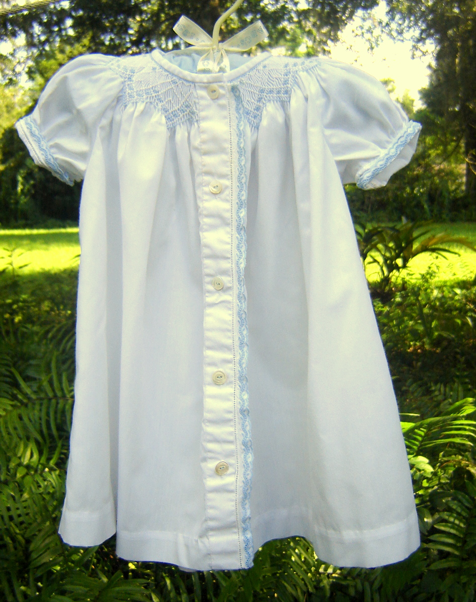 #72  Smocked Boy Daygown, 3 months, $20.  Easy care fabric, Swiss trim, mother-of-pearl buttons, perfect condition.