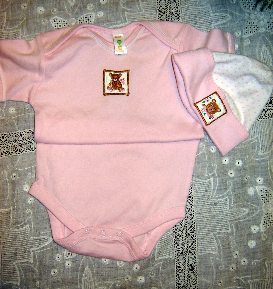 #73  Stamps Onesie and Cap, 6-12 months, $15.  Made for Creative Needle magazine article, never worn.