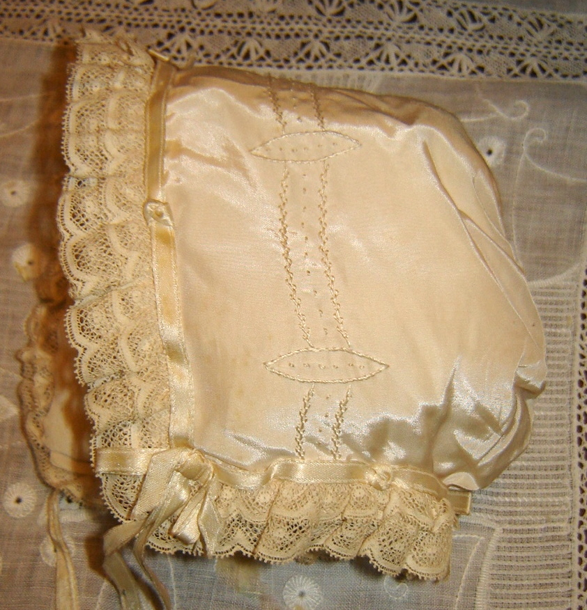 #A2 Silk Bonnet, $30.  Near perfect condition except for ribbon ties.  Fully lined with a crepe like fabric.