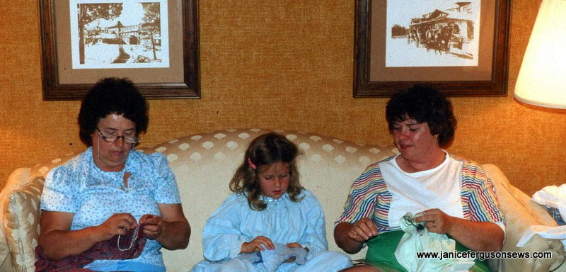 Three generations smocking the evening away during our stay at historic El Tovar at the Grand Canyon. Rebecca was 5.