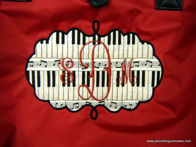 for the pianist, monogrammed on Emily Frame, also from Planet Applique