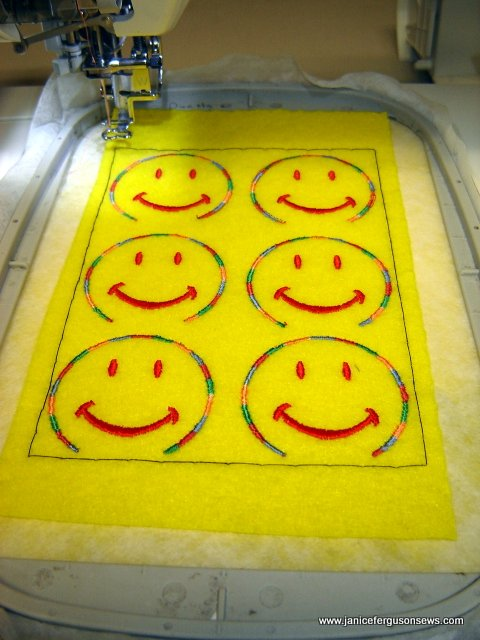 Step #6--Embroider smiley face outline.