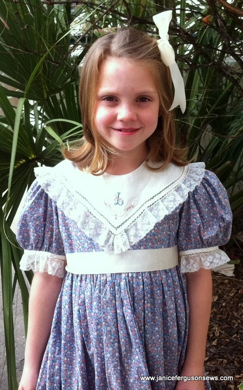 Dress and collar were made in 1984 for my daughter Rebecca.  It was machine monogrammed for dgd Laurel in 2010.  Vivian Rose is next in line to wear it.