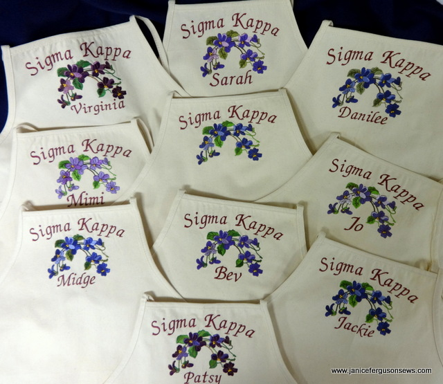 aprons for my sorority alumnae group
