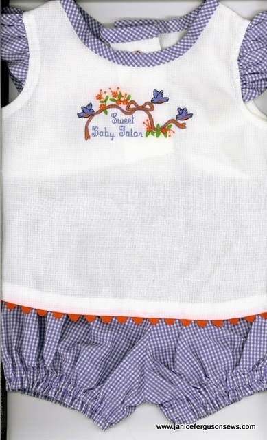 #98---$15, size 0-3 mo.  Swiss pique shirt, pima cotton bloomers.  Worn twice.