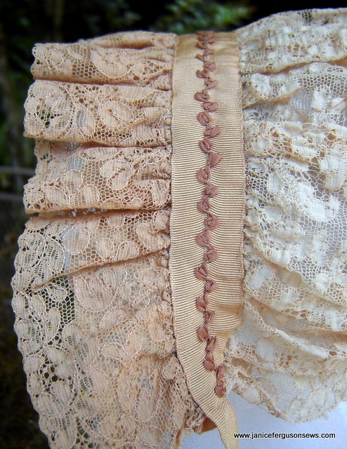 inside of antique lace bonnet.  More pictures and details are posted here.