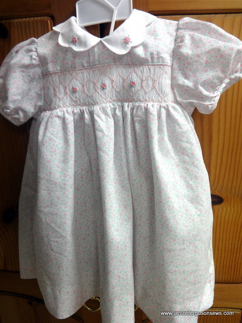 #12   --- size 24 months, Nursery Rhyme  with embroidered collar and matching bloomers.