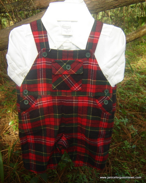 #65. Red Plaid Flannel Overalls, $10. Size 3, long sleeved shirt.  New, never worn.