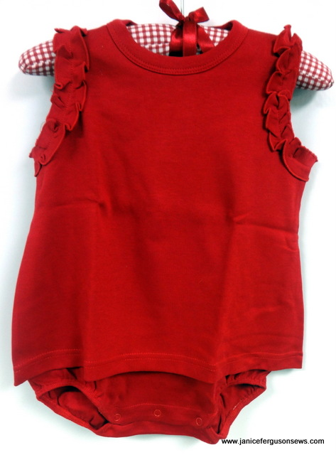 $13 siz 18 months, red skirted bubble, Martha Pullen baby knit.