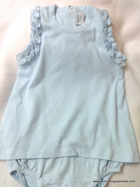#94 --$10 new. Soft as butter knit from Martha Pullen.  Skirted bubble, 2T ready for embroidery or as is.