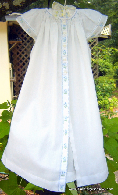 #109---$18 daygown, Imperial batiste trimmed with Swiss embroidery.  Extra long.  Fit my granddaughter until she was 9 months old.