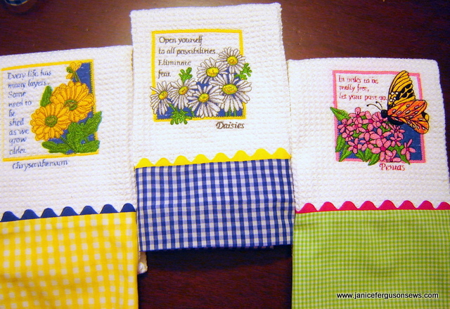 Coordinated with a turn tube hem, the dishtowels were bright and cheerful.