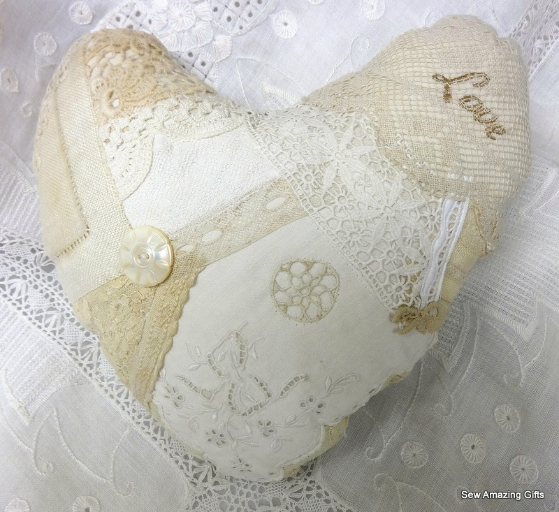 etsy lace heart pillow