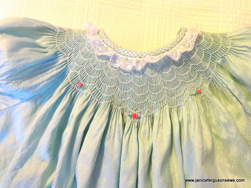 The smocking design is a variation on Ellen McCarn's Buttercream.