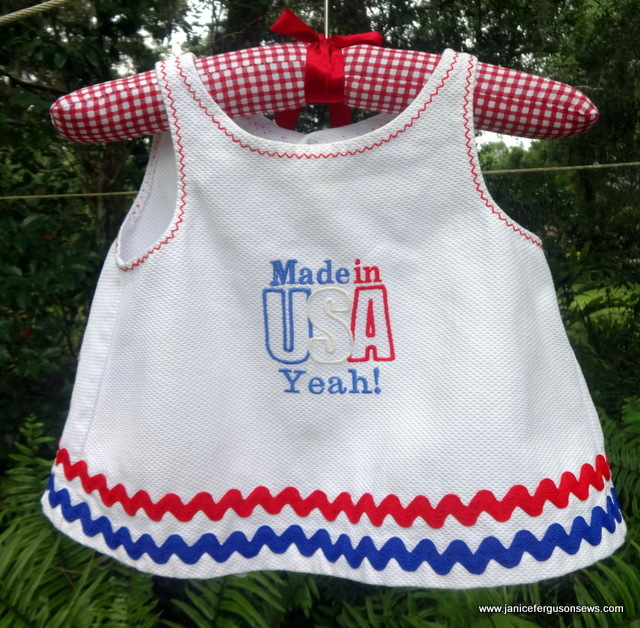 $10, size 6-9 months. Independence Day top, pique with rick rack and machine embroidery.