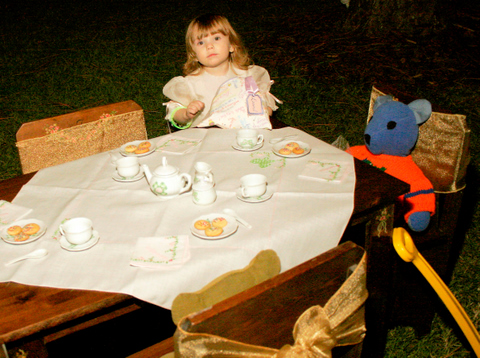 Two identical tables for 4 were set with china and homemade cookies. But the flower girl ate every cookie before any other pint sized guests could enjoy them.