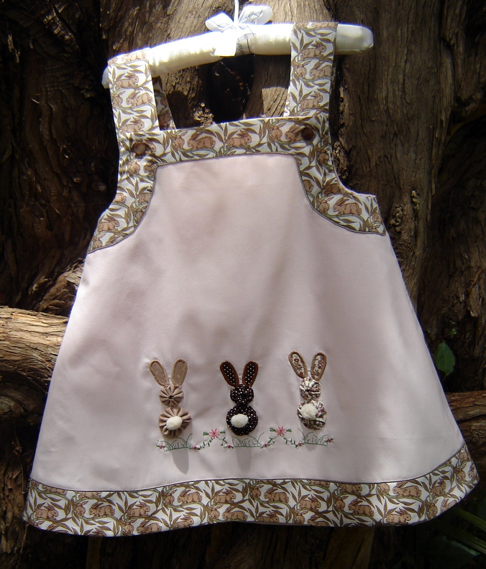 $15 + postage for size 2 Children's Corner Callie. Straps and borders are vintage Liberty tana lawn brown bunnies.