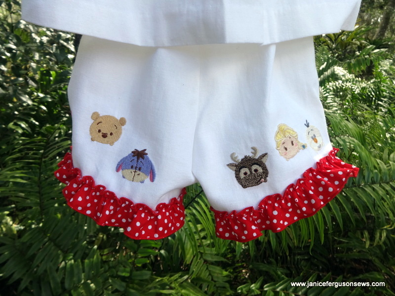 Tsum Tsum characters on back of shorts