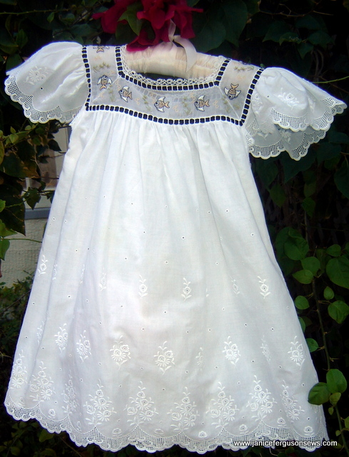 $35 for size 3 Swiss eyelet Angel Fish dress. Antique Swiss handloom angel fish form the yoke which is trimmed with Swiss beading, black ribbon and tatting. This was made for a Sew Beautiful photo shoot and worn once by my granddaughter. No buttons or buttonholes. It was closed with beauty pins but they are not included. More photo and information is posted here.