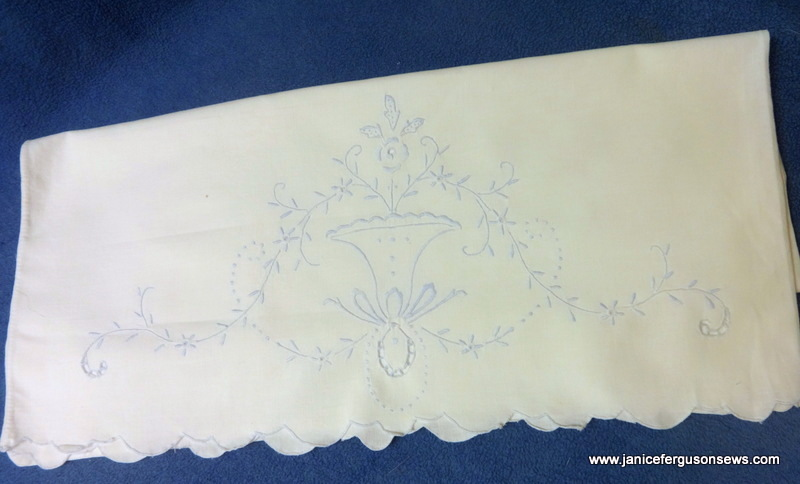 vintage 1920 pillowcase, hand embroidery and cutwork edge